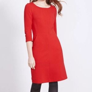 Boden Red Ottoman Ribbed 3/4 Sleeve Shift Dress
